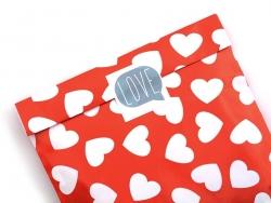 1 pochette cadeau - Rouge à coeurs blancs Kado Design - 3