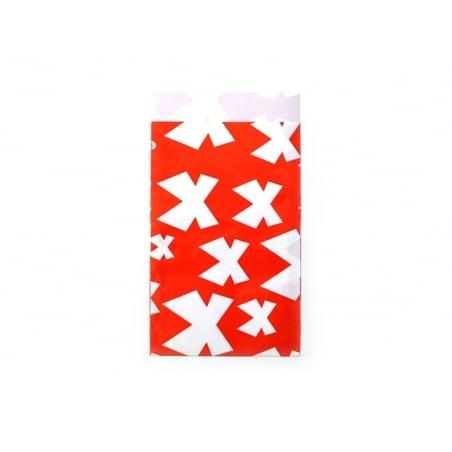1 pochette cadeau - Rouge à noeuds blancs