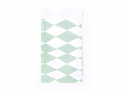 1 gift bag - green and white diamonds