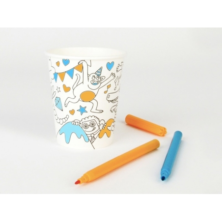 8 paper cups that can be coloured in - My Little Day x OMY
