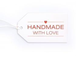 "1 Etiquette cartonnée - ""Handmade with love"" Kado Design - 1"