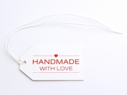 "1 Etiquette cartonnée - ""Handmade with love"""