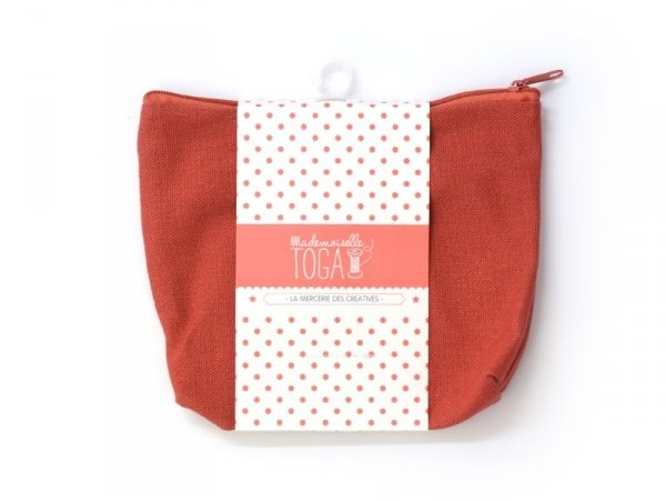 Red deep zipped pouch - Size M