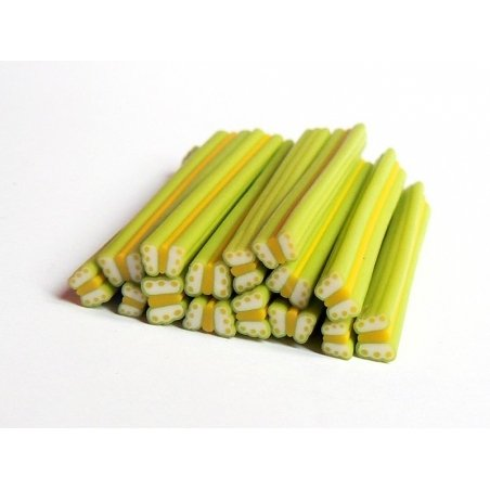 Cane papillon vert et jaune en pâte fimo - à découper en tranches   - 1
