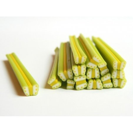 Cane papillon vert et jaune en pâte fimo - à découper en tranches   - 2