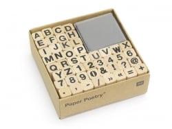 Tampons lettres et chiffres avec encreur noir - 48 caractères Rico Design - 1