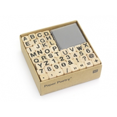 Letter and number stamps with a black ink pad - 48 signs