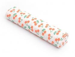 Gemusterter Stoff - Orangefarbene Kirschen