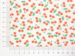 Coupon tissu à motifs - Cerises oranges