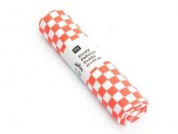 Coupon tissu à motifs - Damier orange et blanc