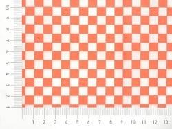 Gemusterter Stoff - Weiß-orangefarbenes Schachbrettmuster