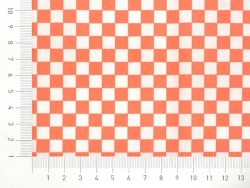 Patterned remnant - orange and white squares