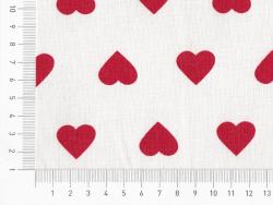 Coupon tissu à motifs - blanc à coeurs rouges