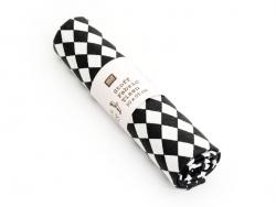 Coupon tissu à motifs - losanges noirs et blancs