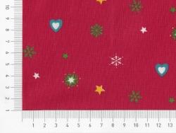 Gemusterter Stoff - Weihnachtsmotive, Herzen und Sterne auf rotem Hintergrund