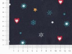 Coupon tissu à motifs - Noel bleu, coeurs et étoiles
