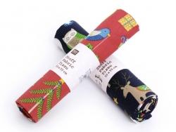 Coupon tissu à motifs - Noel bleu et animaux