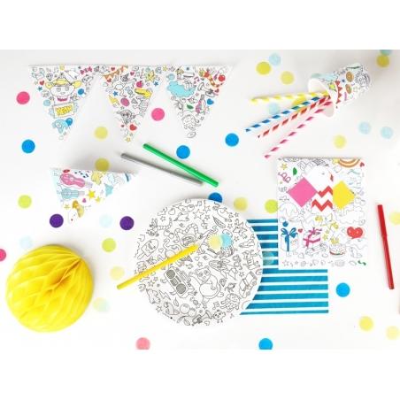 8 assiettes 23cm en papier à colorier -  My Little Day x OMY