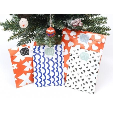 1 pochette cadeau - Rouge à coeurs blancs Kado Design - 2