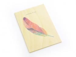 """1 Karte aus Holz - """"Thinking of you"""""""