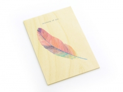 "1 carte en bois - "" Thinking of you"""