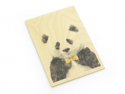 "1 Karte aus Holz - ""Panda"""