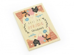 "1 Karte aus Holz - ""Have an amazing Christmas"""