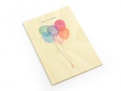 "1 Karte aus Holz - ""Happy Birthday"", Ballons"