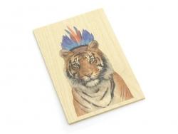 "1 carte en bois - ""Tigre indien"""
