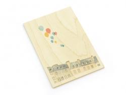 """1 Karte aus Holz - """"Aufsteigende Luftballons"""""""
