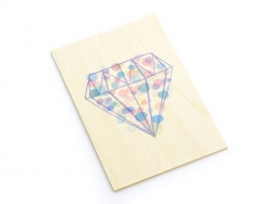 """1 carte en bois - """"Diamant"""""""