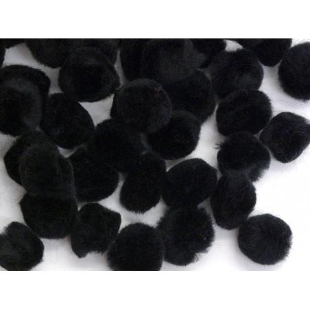 Black pompoms - 15 mm