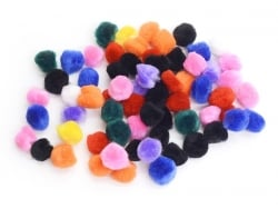 Pompons multicolores - 15 mm
