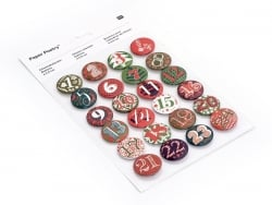 Adventskalender-Buttons - rot / grün