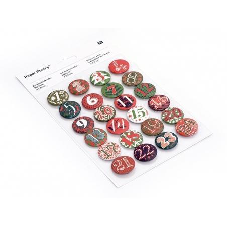 Advent calendar buttons - red / green