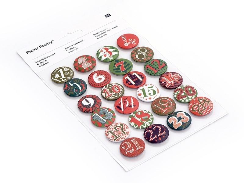 Badges pour calendrier de l'avent - Rouge / Vert