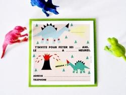 8 Einladungen - Dinosaurier (auf Französisch)
