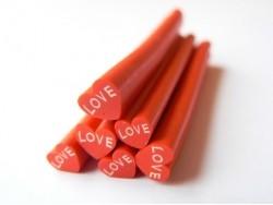 """Cane coeur """"LOVE"""" en pâte fimo - à découper en tranches"""