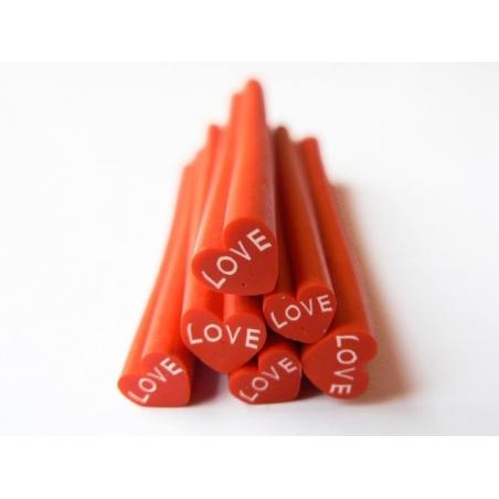 """Cane coeur """"LOVE"""" en pâte fimo - à découper en tranches  - 5"""