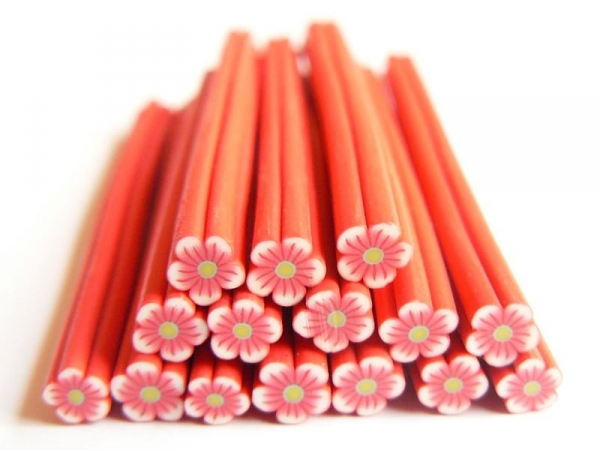 Flower cane - red with a green centre