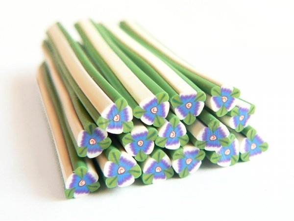 Flower cane - blue with green leaves