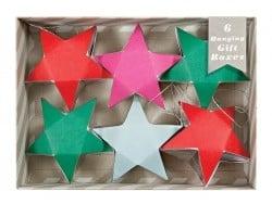 6 boîtes cadeaux à suspendre - étoiles roses, rouges, vertes Meri Meri - 1