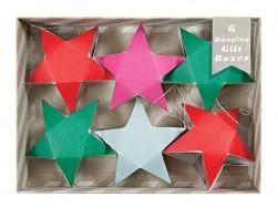 6 boîtes cadeaux à suspendre - étoiles roses, rouges, vertes