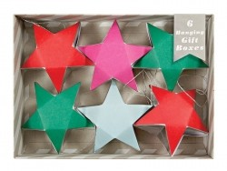 6 hanging gift boxes - pink, red and green stars