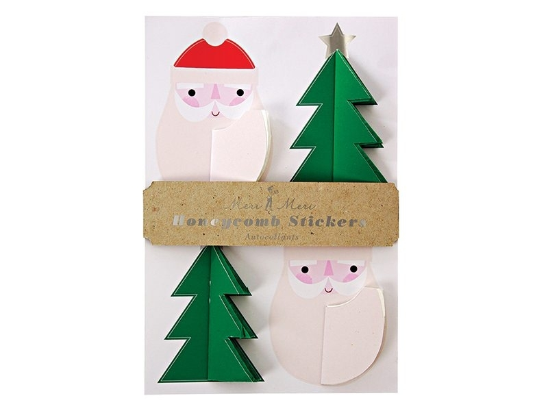 12 three-dimensional honeycomb stickers - Father Christmas and Christmas Tree