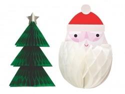 12 dreidimensionale Anhänger Wabenmuster - Weihnachtsmann und Tannenbaum