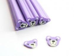 Cane nounours violet - en pâte fimo