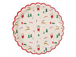 8 assiettes en papier rondes 23cm - Noël