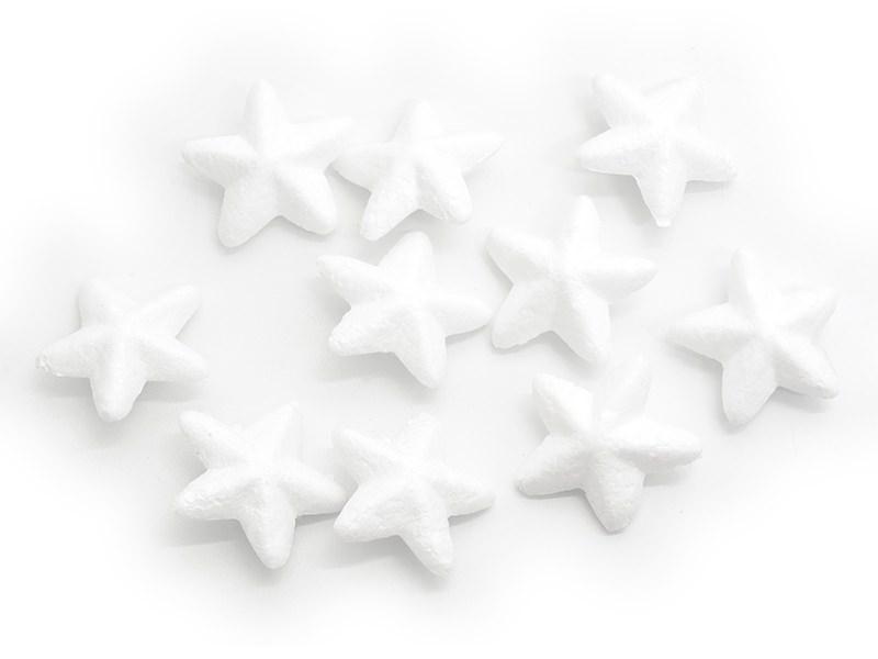 Lot de 10 étoiles polystyrène 4,5 cm - blanc