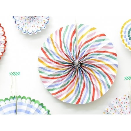 6 paper rosettes - stripes and dots